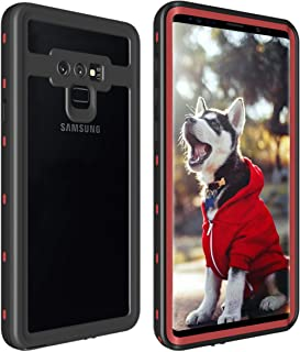 ShellBox for Galaxy Note 9 Waterproof Case, Shockproof Snowproof Cover IP68 Underwater Full Body Protection Crystal Clear Built-in Screen Protector Case for Note 9 (Red Clear)