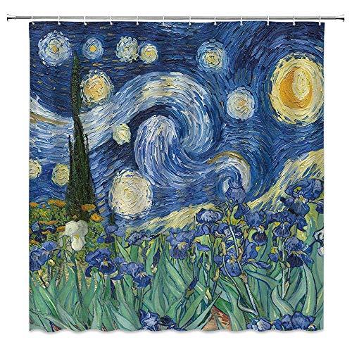 Van Gogh Duschvorhang mit Ölgemälde, Sternenhimmel, Iris, Blume, kreativ, abstrakt, Vintage, künstlerische Frühlingsszene, Heimdekoration, Stoffvorhang mit 12 Haken, 178 x 178 cm