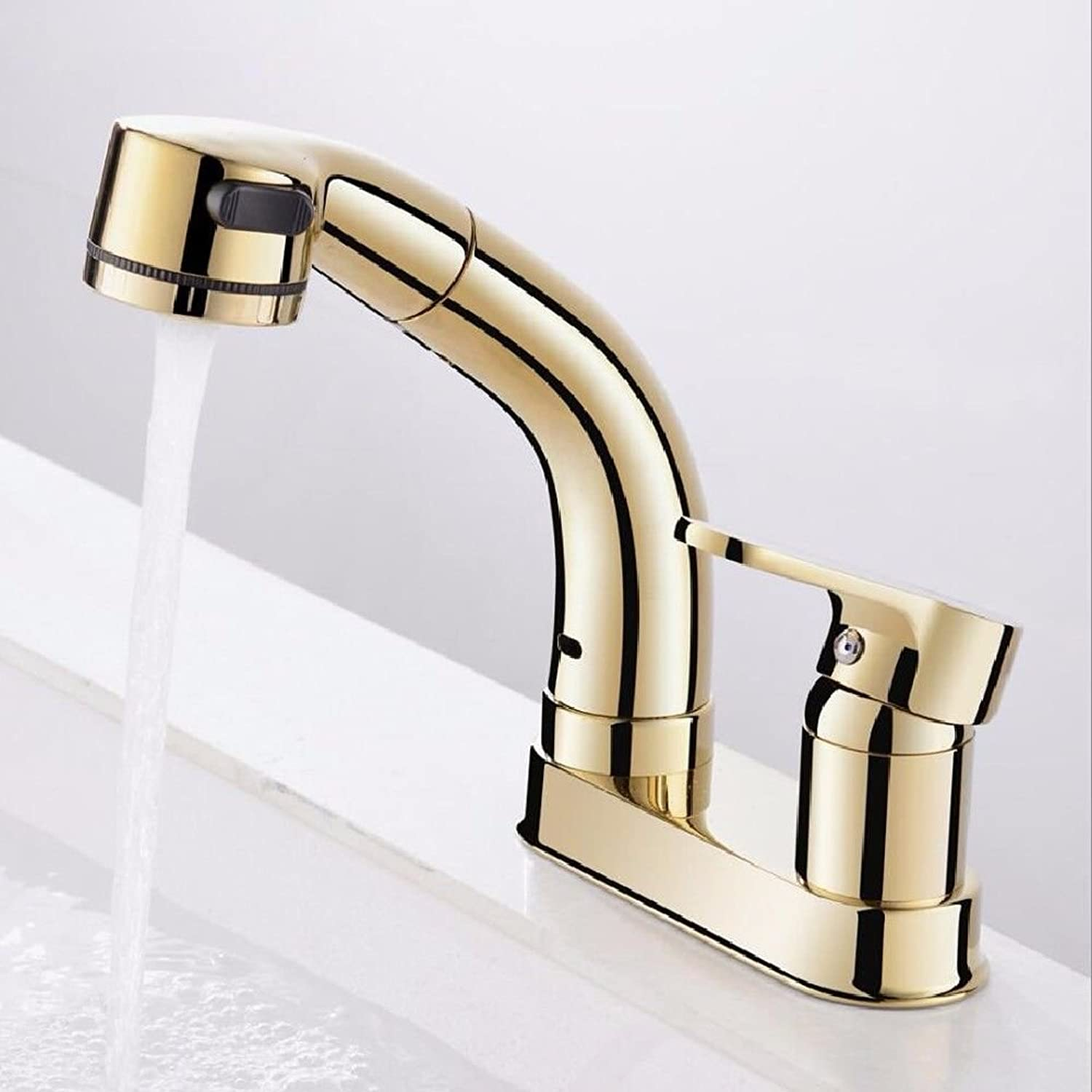 Lpophy Bathroom Sink Mixer Taps Faucet Bath Waterfall Cold and Hot Water Tap for Washroom Bathroom and Kitchen gold Double Hole Pull Type Hot and Cold Lifting
