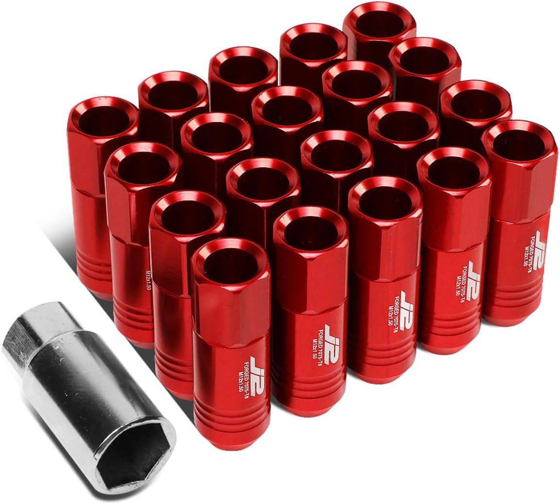J2 Engineering LN-T7-009-15-BK Black 7075 Aluminum M12X1.5 20Pcs L 60mm Open End Lug Nut w//Socket Adapter