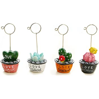 4-Set of Card Photo Holder, ZONYEO Mini Plant Reserved Number Clip Name Note Memo Stand Office Supply Home Decoration Desk Small Clamps Stand Accessories.