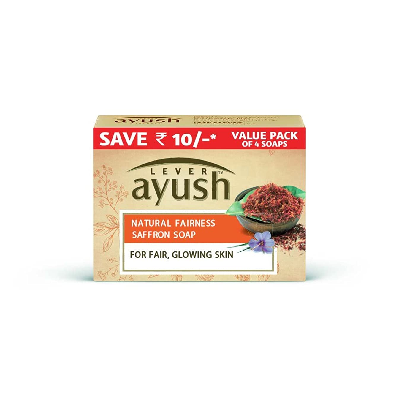 うるさい樹皮見ましたLever Ayush Natural Fairness Saffron Soap, 100g (Pack of 4)
