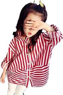 子供服 キッズ 女の子 カジュアル ストライプ 秋 長袖 チュニック シャツ ワンピース ゆったり レッド ネイビー おしゃれ