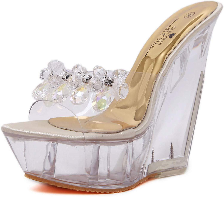 DeANJIE Pantofole Trasparenti da Donna con Zeppa Estiva con Ttuttione e Cristtuttio di Vetro per Calzature da Btuttio,A,39EU