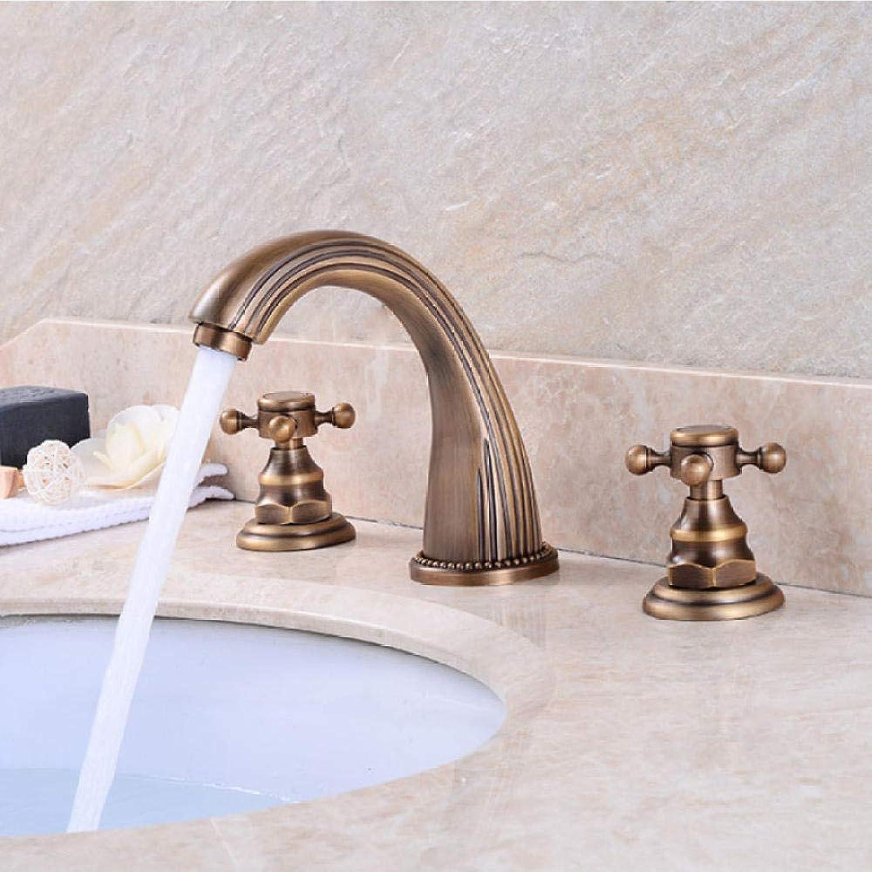 Waschtischarmaturen Antike Messing Klassische Waschbecken Wasserhahn Doppelkreuzgriff 3 Loch Waschbecken Zhler Mischbatterien SC4