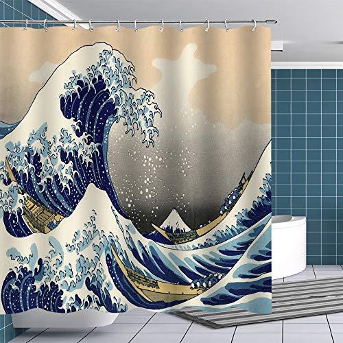 Fuortia Hokusai Great Wave Duschvorhang Stoff Ocean Boat Japan Mount Fuji Duschvorhang-Sets mit Haken Kunst Duschvorhang Jungen Badezimmer Dekor Kunstwerk bedruckte Gardinen Tapisserie 177 x 178 cm