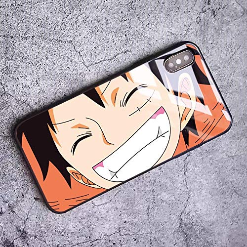 Carcasa de Cristal Templado One Piece Luffy Zoro para iPhone 6 6S 7 8 Plus X XR XS 11 12 Pro MAX Mini SE 2020-Photo_Color_12_Pro_MAX