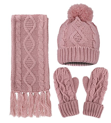 3 in 1 - Soft Warm Thick Cable Hat Scarf & Gloves Winter Set, Pink