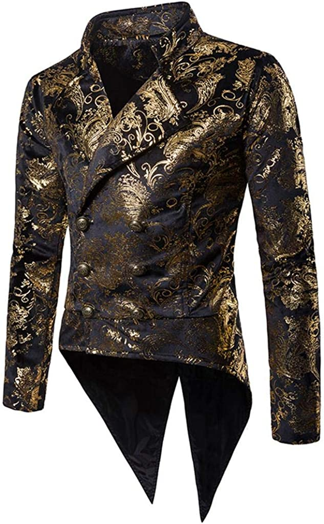 Luxfan Mens Vintage Tailcoat Tuxedo Gold Print Double Breasted Blazer Jacket Coat