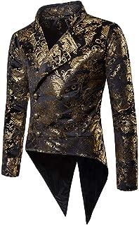 Mens Vintage Tailcoat Tuxedo Gold Print Double Breasted Blazer Jacket Coat
