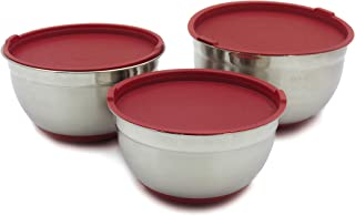 Checkered Chef Stainless Steel Mixing Bowls Set of 3 - XL to Large - Nesting Stackable Stainless Steel Bowls with Lids and...