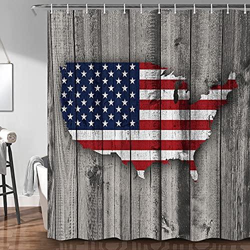 JAWO Holz-Duschvorhang für Badezimmer, US-Flagge, amerikanische Landkarte auf rustikalen Vintage-grauen Holzpaneelen, rustikales Kabinen-Thema, Stoff, Badezimmervorhang mit Duschvorhanghaken