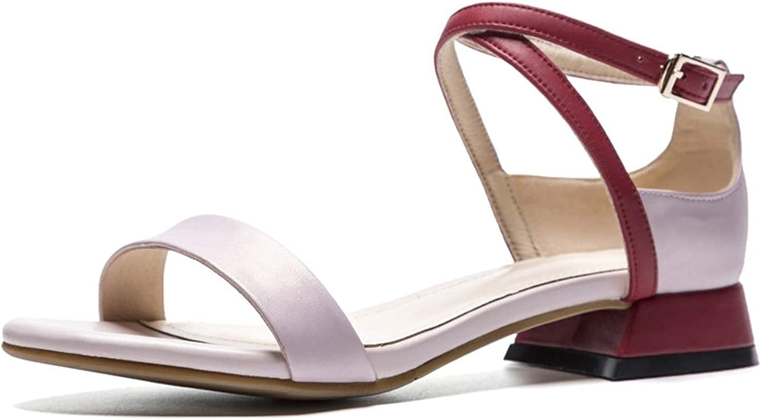Girl21 Genuine Leather Women Sandals Mixed colors Square Heels Summer Buckle Casual shoes