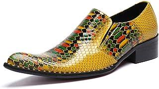 DEAR-JY Chaussures en Cuir Pointues pour Hommes,Rivet de Motif de Crocodile de personnalité de Mode Occasionnelle,Bottes d...