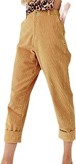 YONGM Womens High Waist Corduroy Harem Pants Corduroy Pant