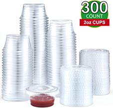 Eupako 2 Ounce Jello Shot Cups with Lids 300 Pack, 2 oz Plastic Condiment Cup with Lid, PET Cups, FDA Approved