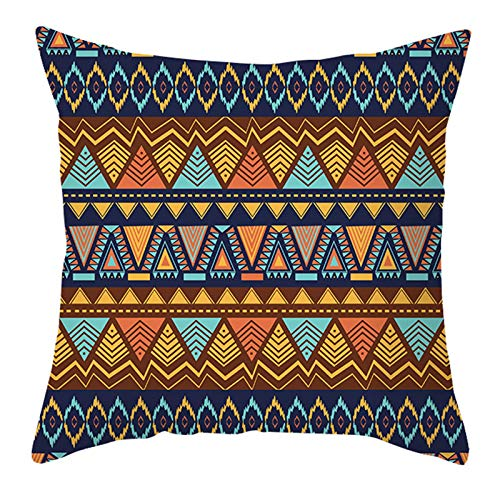 Iwinna Nordic Bohemian Colorful Geometric Stripes Throw Pillow Case Polyester Peach Velvet Abstract Decoration Cushion Cover for Home Office Sofa Couch