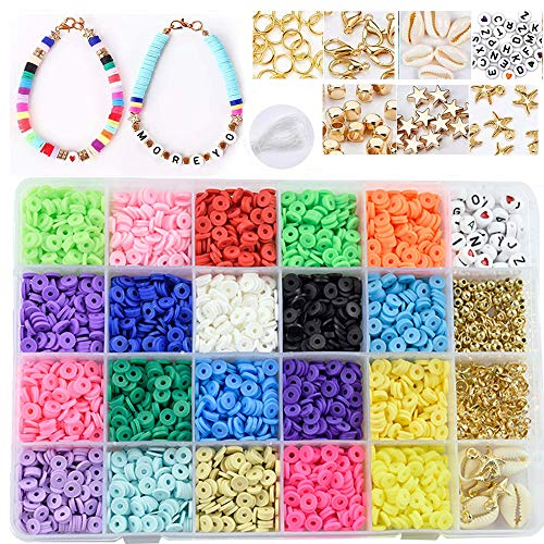 Flysee Set di Perline Fai da Te per Bambini Adulti Perline Colorate con Creazione di Gioielli Kit di Creazione Perline di Argilla per Bracciale Collana Gioielli Kit di Creazione Fai-da-Te