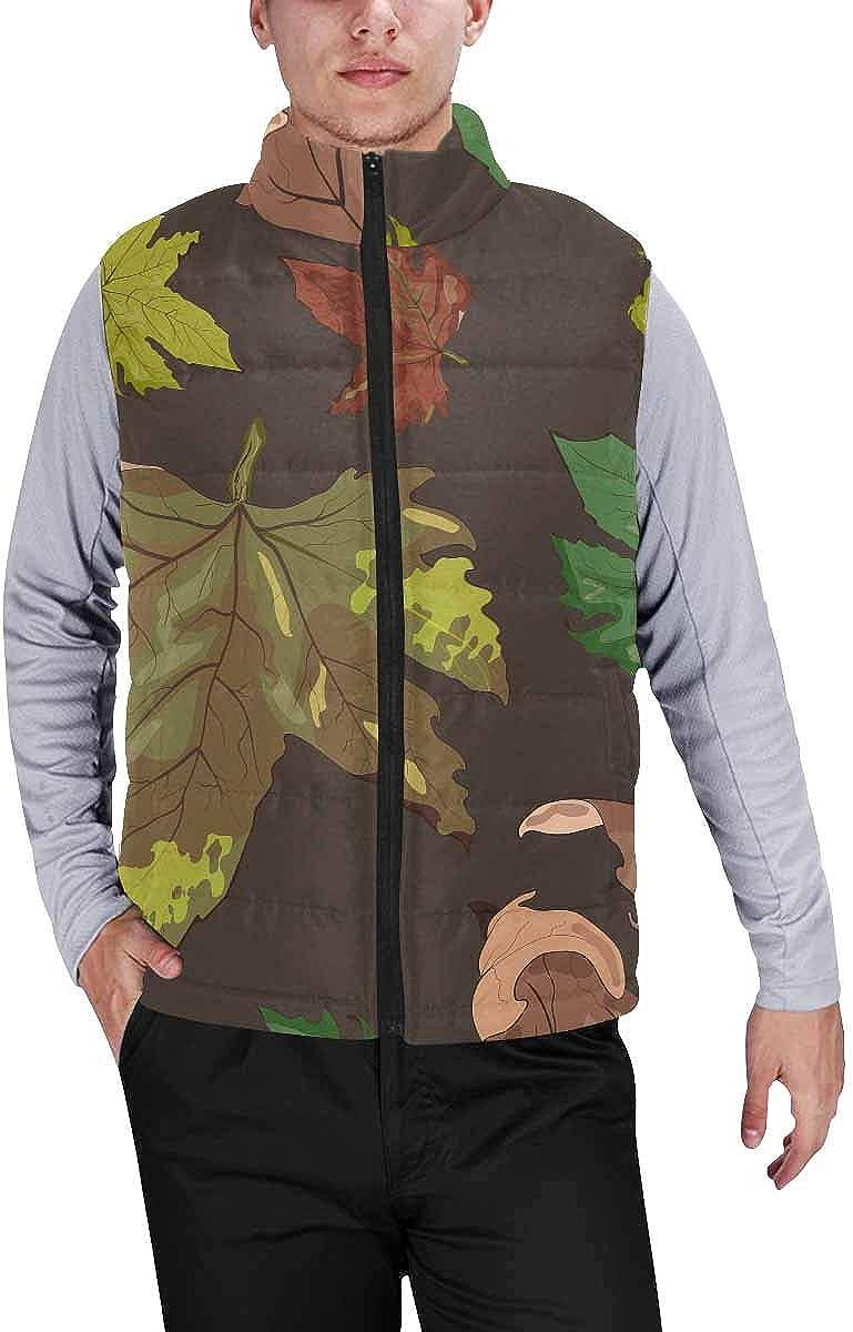 InterestPrint Winter Outwear Casual Padded Vest Coats for Men the Fractal