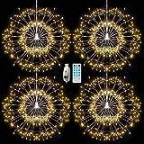 4 Paquete 480 Luces LED de Fuegos Artificiales,Pulchram Luces de Cadena Starburst, USB 8 Modos, Luces de Cadena de Hadas con Control Remoto para Jardín, Navidad, Fiesta, Interior, Exterior