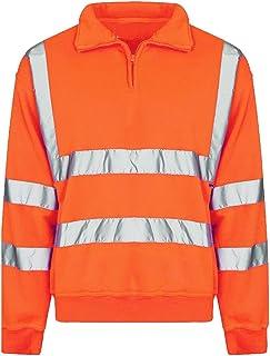 xpaccessories Mens Zip Collar High VIS Workwear Sweatshirt High Viz Reflective Striped Highway Jacket UK Plus Size S-5XL