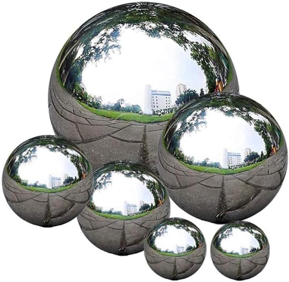 6Pcs Garden Decorations Mirror Ball Stainless Steel Gazing Ball Mirror Reflective Garden Sphere Floating Pond Balls Garden Sculptures Statues