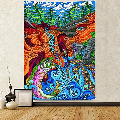 N\A Tapiz de Paisaje de fantasía Tapiz de pez saltarín Tapices para Colgar en la Pared para el hogar Dormitorio Sala de Estar Apartamento Dormitorio Decoración de Oficina GTQQAY196