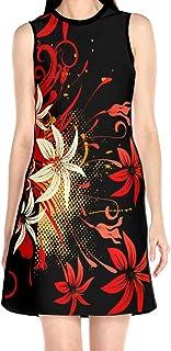 ブラックローズ 花 レッド 花柄ワンピース ワンピース レディース カジュアル 夏物 夏服 スカート おしゃれ 洋服 ファッション 流行る