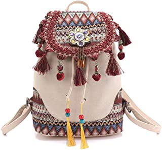 Backpack for women Bohemian style hippie Boho vintage ladies canvas tassel shoulder bag Cotton Fabric Bag ethnic bags knapsack