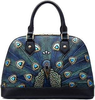 Women Brands Embossed Designer Ladies' Genuine Leather Handbags High Quality Printing Peacocks Shell Bag