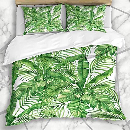 1203 Bettbezug-Sets Exotic Green Leaf Aquarell Coconutbananapalm Leafgreen Blattmuster Nature Palm Tropical Mikrofaser Bettwä