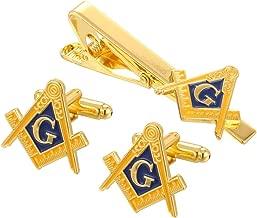 Masonic Compasses Freemason Mason Pin and Cuff links and Tie Clip Set