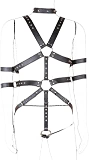 LISBLIER Leather Harness, Men's Adjustable Leather Body Chest Harness Cage Belt Black