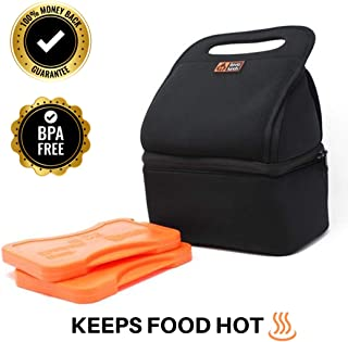 Lava Lunch Insulated Lunch Bag | Large Heated & Cooled Double Deck Lunch Box for Men, Women, Kids (Black)