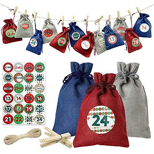 SLCE Calendarios De Adviento Saquitos, Set De 24 Bolsas De Yute para Rellenar, Calendario De Navidad De 1-24 Números De Adviento Adhesivos, Bolsa De Tela, Bolsita, Pegatina De Navidad