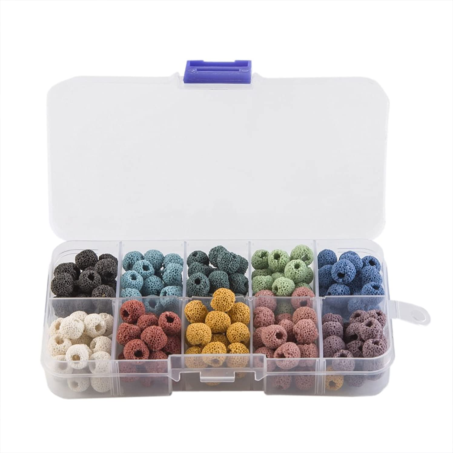 Lava Rock Stone Gemstone Semi Precious Stone Beads Round Loose Beads for Jewelry Making Findings Accessories,10mm 120pcs (Mix color 2)