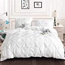 LALAWO Pinch Pleat Duvet Cover Set White Pintuck Duvet Cover Set 3 Pieces Pinch Pleat Bedding Duvet Cover with Zipper Closure Microfiber Pintuck Quilt Duvet Cover for Home King Size