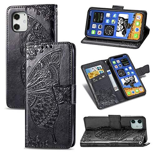 """LODROC iPhone 12 Mini (5,4"""") Hülle, TPU Lederhülle Magnetische Schutzhülle [Kartenfach] [Standfunktion], Stoßfeste Tasche Kompatibel für Apple iPhone 12mini 2020 - LOSD0100063 Schwarz"""