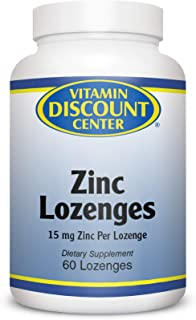 Vitamin Discount Center Zinc Lozenges, 15 mg Zinc, with 60 mg Vitamin C, Natural Lemon Flavor, 60 Lozenges