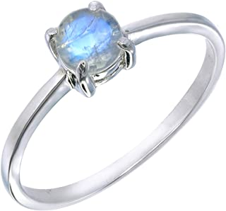 Stackable Tiny Moonstone Prong Ring Size 8