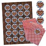 24 rot karierte Bayern Papiertüten Geschenk-Tüten Geschenk-Verpackung Geschenktüten (9,5 x 14 cm) mit 24 Aufkleber Sticker mit 3 verschiedenen Texten auf Lebkuchenherz auf blau-weißer Bayern-Raute