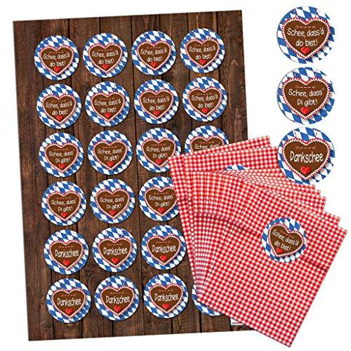 24 rood geruit Beieren papieren zakken geschenkzakjes geschenkzakjes geschenkverpakking geschenktasjes (9,5 x 14 cm) met 24 stickers met 3 verschillende teksten op het hart van de peperkoek op blauw-witte Beieren ruit