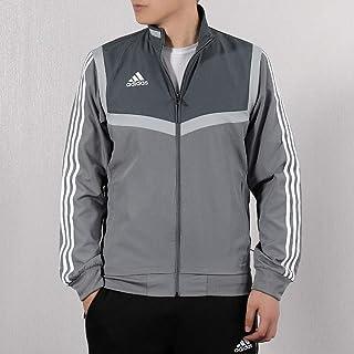 adidas 阿迪达斯男装上衣 春季 足球训练运动服开衫休闲立领三条纹夹克外套