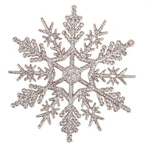 Demiawaking 24pcs Fiocchi di Neve Decorazione dell'Albero di Natale 10cm Fiocco di Neve di Glitter...