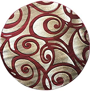 Modern Round Area Rug Sculpture Red Design#S 241(5ft6in.X5ft6in.)