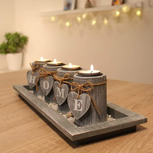 DszapaciR Home Decorations For Living Room Tea Light Candle Holder Set Wooden Tray Table Decoration