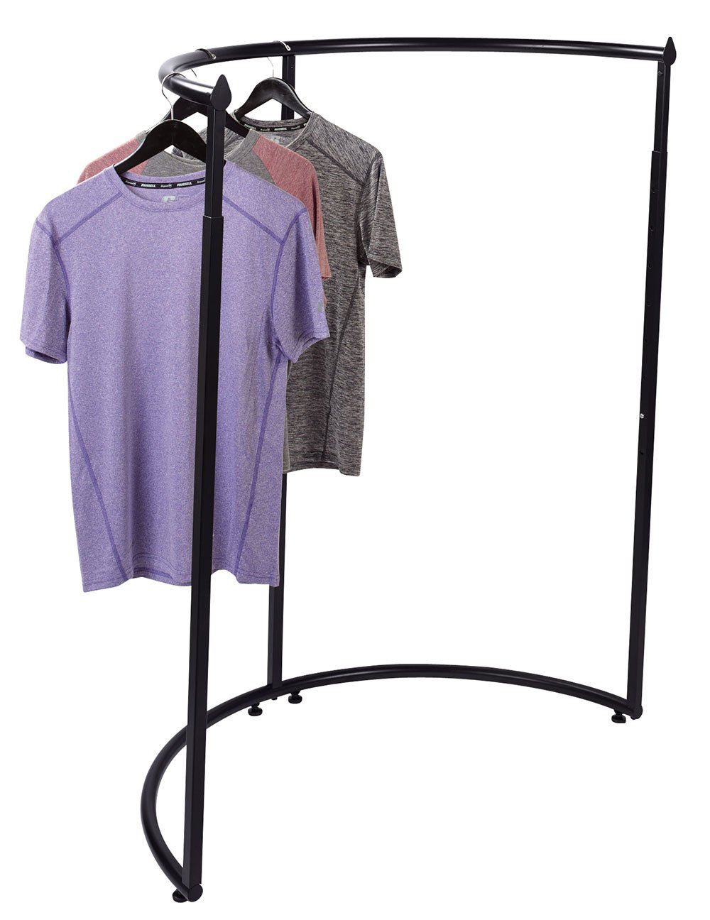 "35/""W x 35 D x 54/""H SSWBasics Boutique White Pipe Half Round Clothing Rack"