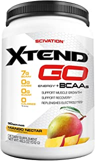 Scivation Xtend Go Amino Energy BCAA Powder for Pre Workout or Anytime Energy, BCAAs, Mango, 90 Servings