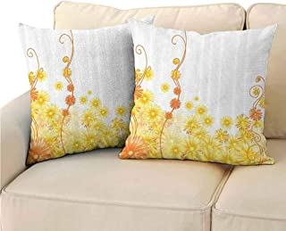 Pack of 2 Fine plush pillowcase Yellow Decor Collection Double-sided printing 18x18 inch Curling Golden Gerbera Flowers Botanical Print Ivy Nature Stylized Patterns Illustration Home Golden