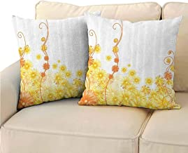 QIAOQIAOLO Pack of 2 Decorative Pillowcase Yellow Decor Collection for Bedroom 24x24 inch Curling Golden Gerbera Flowers Botanical Print Ivy Nature Stylized Patterns Illustration Home Golden